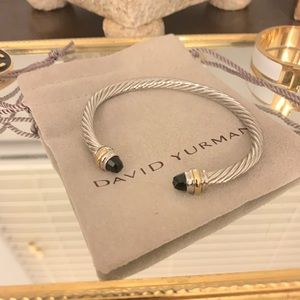 David Yurman 5mm bracelet w/ 14k gold & black onyx